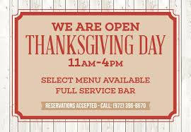 allen restaurant open thanksgiving serving turkey dinner
