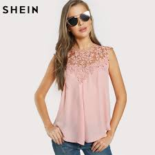 shell blouse shein keyhole back lace shoulder shell top