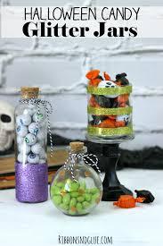 diy halloween candy glitter jars