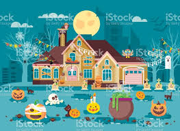 vector illustration cartoon house with courtyard decorated
