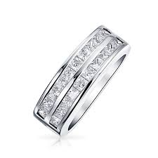 channel set wedding band row channel set princess cut cz wedding band ring