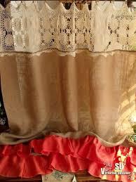 Cowhide Shower Curtain Cream Hand Crochet Shabby Rustic Chic Burlap Shower Curtain Orange