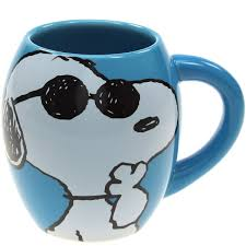 snoopy joe cool curved blue peanuts mug cartoon coffee mugs