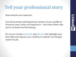 skills and experience keyword tell your professional story demonstrate