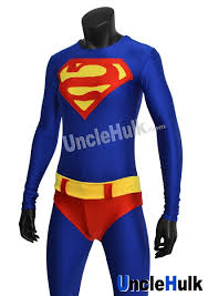 reverse s superman zentai lycra spandex bodysuit include cloak