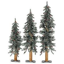 unlit frosted alpine artificial tree set of