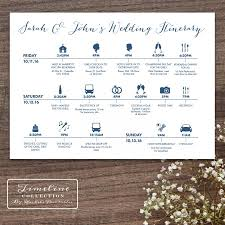 Destination Wedding Itinerary Printable Wedding Timeline Day Of Itinerary Schedule Card Three