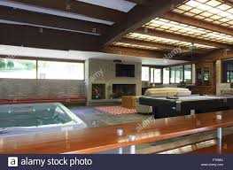 view of tub and family room from indoor outdoor bar usonia