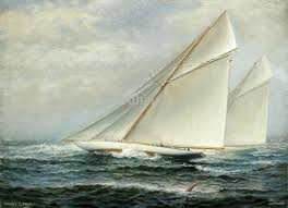 2017 selling hd print oil painting on canvas sailboat sea