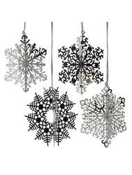set 6 pc silver 4 metal stainless steel snowflake