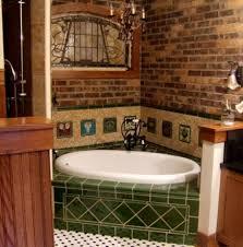 contemporary bathroom design with corner tub and brick wall