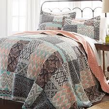 3 piece girls teal blue coral pink patchwork quilt full queen set