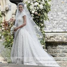 key back wedding dress kate pippa middleton lace cap sleeves princess wedding