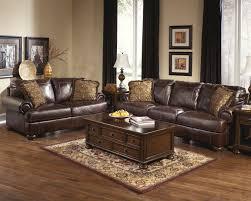 Sofa Liquidators Living Room Ashley Axiom Walnut Genuine Leather Sofa And Love