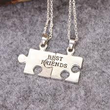 best friends puzzle necklace images 2 parts best friend puzzle pendant necklaces friendship silver jpg
