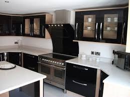 Gloss Kitchen Cabinet Doors Delightful Black Unique Kitchen Featuring Black Gloss Kitchen