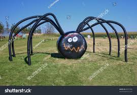 giant halloween spider on farm made stock photo 60737782