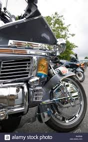 honda goldwing reflections with a custom paint scheme stock photo