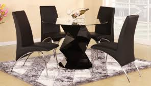 black glass kitchen table modern round black high gloss clear glass dining table 4 chairs