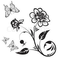 floral ornament with butterfly element for design vector