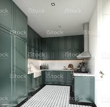 how to hang kitchen cabinets on brick wall stylish fully kitchen in modern classic style midnight green spray painted cabinet and white brick tiles install on the wall with marble floor tile