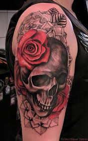 rose and demon skull tattoos on leg photo 3 2017 real photo