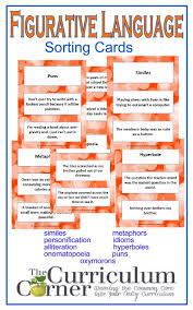 figurative language cards figurative language alliteration and