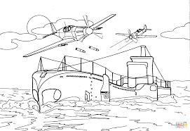 submarine is attacked by fighter aircrafts coloring page free