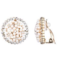 clip on earings s gold and imitation pearl button clip on earrings