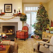 Burlap Grommet Curtains Living Room Decorated Christmas Trees Mantelpiece Surround