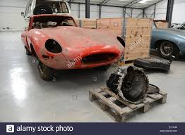 antique jaguar old vintage cars e type jaguar car waiting to be restored at