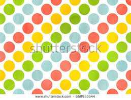 yellow with pink polka dots watercolor yellow salmon pink lime green stock illustration