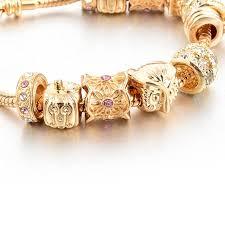 gold charm bracelet beads images Gold charm bracelet women owl heart beads bracelets charm bangles jpg