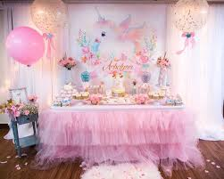 baby birthday ideas dessert table from a baby unicorn 1st birthday party on