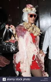 lady gaga halloween costume model mery lopez displays a one of a kind lady gaga inspired meat