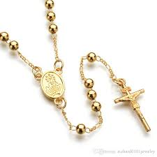 catholic rosary necklace wholesale fashion hip hop jewelry gold silver catholic rosary pray