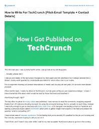 how to write for techcrunch pitch email template contact details