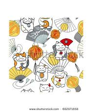seamless japanese pattern lucky cat maneki stock vector 602971658
