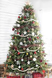 rustic tree with splashes of glam and plaid