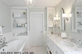 white master bath with bead board carrera white subway tile