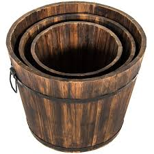 best choice products indoor outdoor set of 3 wood barrel planter w dr