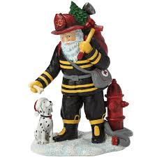 christmas gifts u201cfirefighter santa u201d resin figurine 7161202