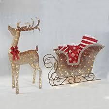 led pre lit twinkling deer sleigh set