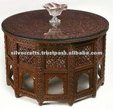 carved wood coffee table wooden carved round top jali table carved furniture from india