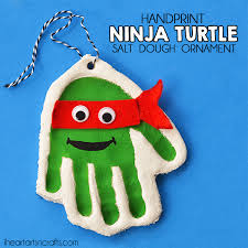 handprint mutant turtle salt dough ornament i