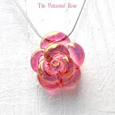 rose glass necklace images Pink rose necklace glass hand blown lampwork flower pendant pink jpg