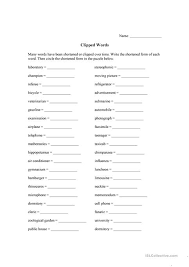 esl printable word games for adults clipped words worksheet free esl printable worksheets made by teachers
