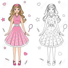 doll design book coloring book doll in a pink dress royalty free cliparts vectors