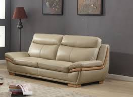 lush taupe leather 3 piece sofa set with eucalyptus wood accent