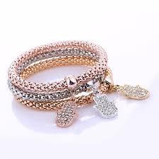 fashion bracelet images Hot fashion 3 pcs set crystal hamsa hand bracelet bangle love jpg